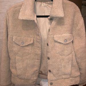 Faux fur sherpa trucker jacket